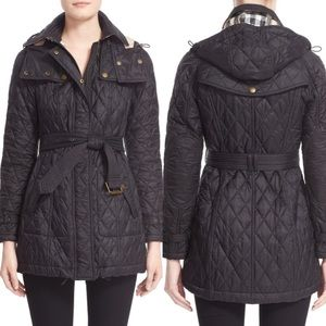 Burberry Finsbridge Black Quilted Coat Size Small